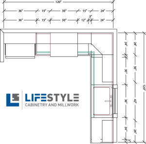 10x10 layout of custom cabinetry