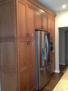Dark Cabinets around refrigerator