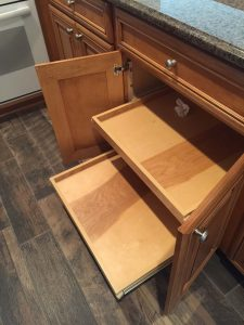 Multiple pull out shelves