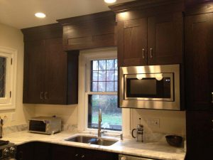 Dark Cabinets with window Valance and Microwave mount