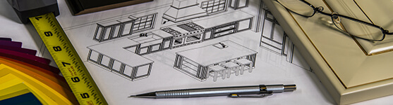 Kitchen Design Plans with tape measure and glasses, design planning concept